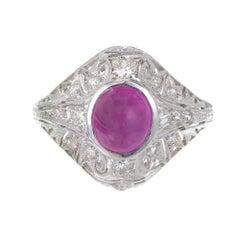 GIA Certified 3.40 Carat Star Ruby Diamond Art Deco 1920s Platinum Cocktail Ring