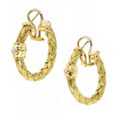Italian Diamond Braided Gold Hoop Earrings