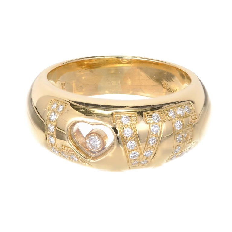 332c152bb5282 Chopard Happy Diamond 18k yellow gold Love ring. 24 full cut Diamonds,  approx.