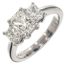 Peter Suchy GIA Certified Diamond Three-Stone Platinum Engagement Ring
