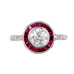 EGL Certified .81 Old European Diamond Ruby Halo Platinum Engagement Ring