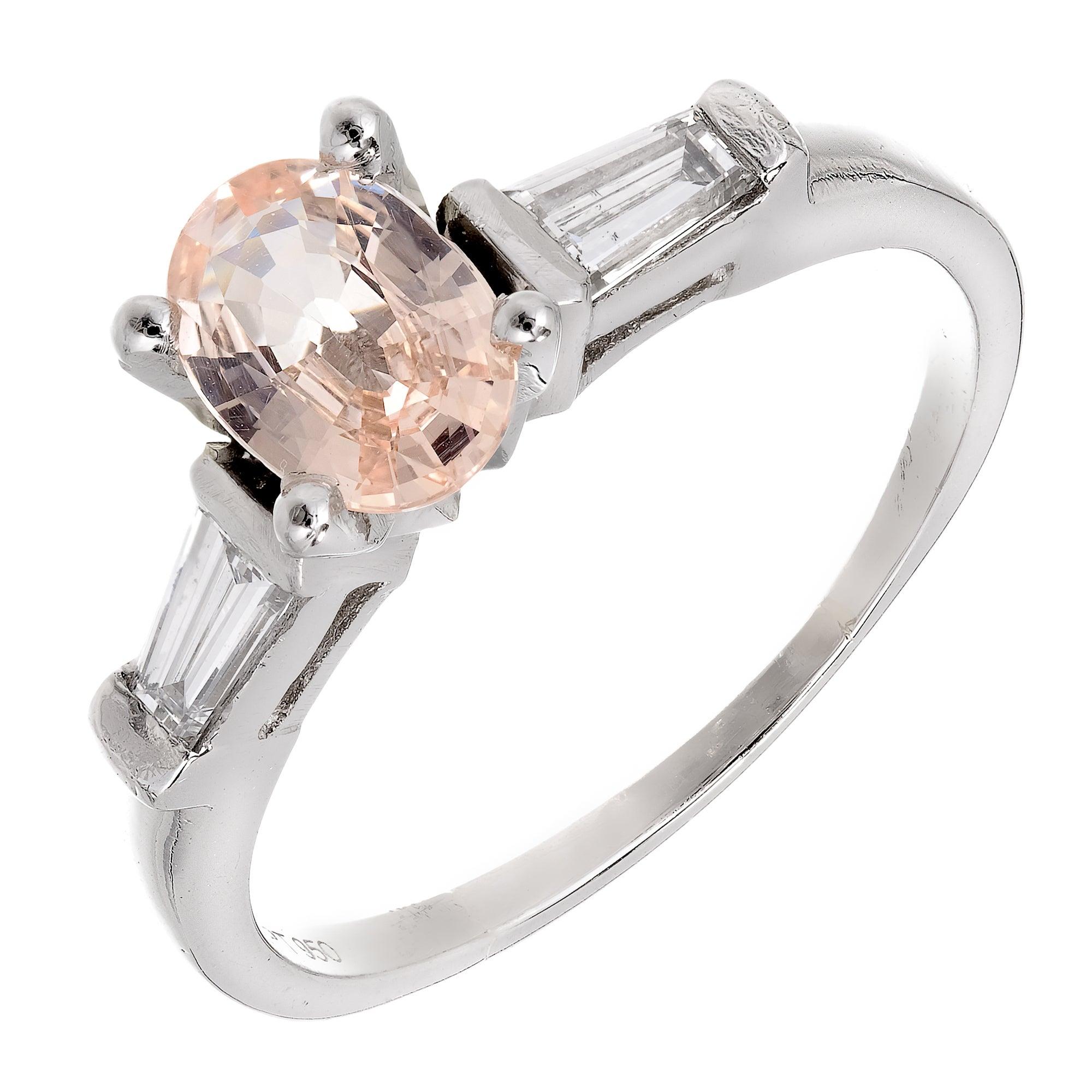 Peter Suchy GIA Certified Orange Sapphire Diamond Platinum Engagement Ring