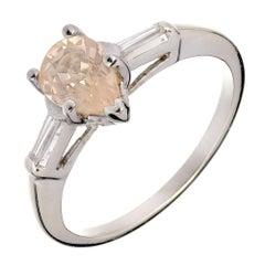 Peter Suchy Natural Peach Light-Yellow Sapphire Diamond Gold Engagement Ring