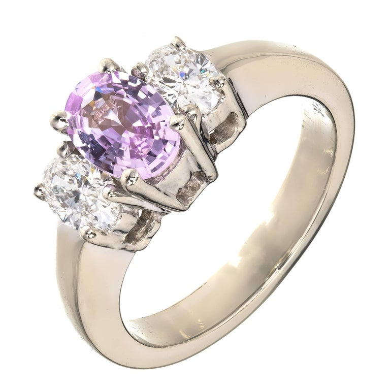 Peter Suchy Pink Purple Sapphire Diamond Gold Three-Stone Engagement Ring