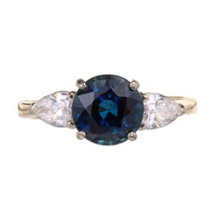 GIA Certified 2.88 Carat Round Sapphire Pear Diamond Gold Engagement Ring
