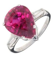 6.95 Carat Pear Shape Red Tourmaline Rubellite Diamond Platinum Cocktail Ring