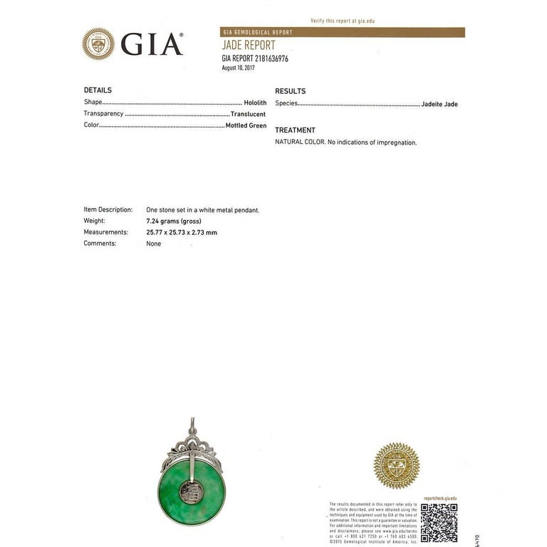 Women's GIA Certified Natural Mottled Bright Green Hololith Gold Pendant For Sale