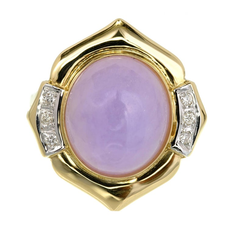 GIA Certified Natural Purple Jadeite Jade Diamond Gold Cocktail Ring