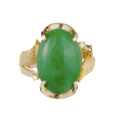 GIA Certified Natural Mottled Green Jadeite Jade Diamond Gold Cocktail Ring