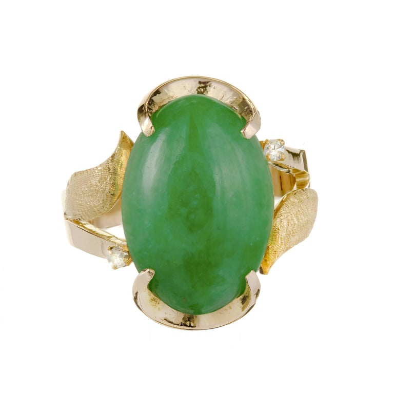 GIA Certified Natural Mottled Green Jadeite Jade Diamond Gold Cocktail Ring For Sale
