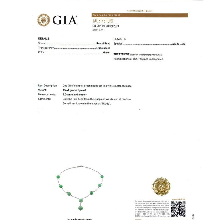 Women's GIA Certified Natural Jadeite Jade White Gold Necklace For Sale