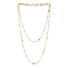 GIA Certified 41.04 Carat Pink Peach Yellow Sapphire Moonstone Gold Necklace