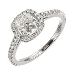 Peter Suchy GIA Certified 1.01 Carat Diamond Halo Platinum Engagement Ring