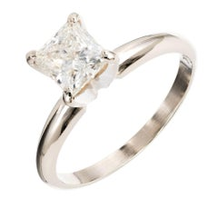EGL Certified .94 Carat Princess Cut Diamond Solitaire Gold Engagement Ring