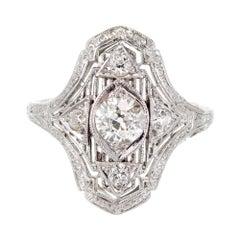 EGL Certified .51 Carat Edwardian Diamond Platinum Cocktail Ring