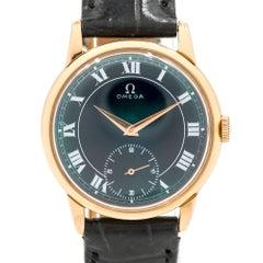 Omega Rose Gold Blue Dial Caliber 17 Jewel Manual Wristwatch Ref 267