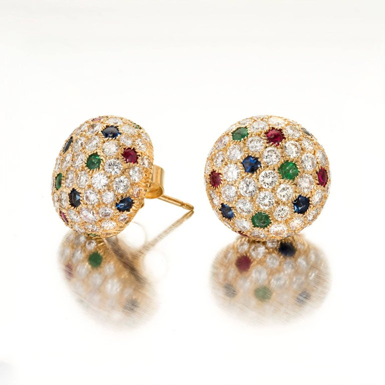 Cartier Panthere 8 3 Carat Dome Diamond Shire Emerald Ruby Gold Earrings For 2