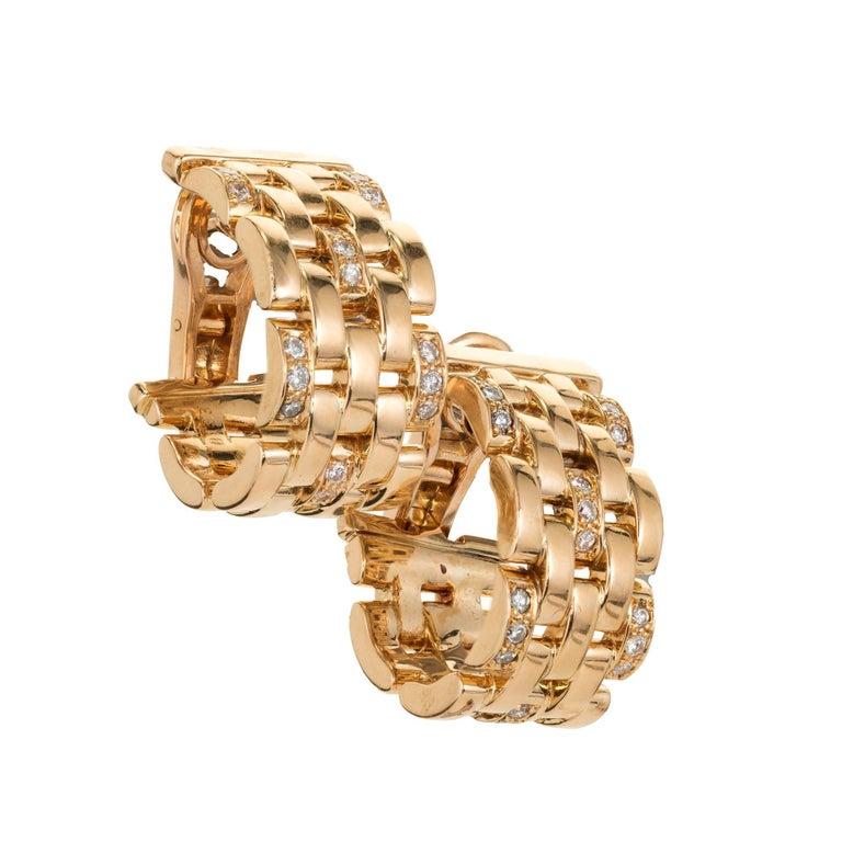 24cdabb73fd56 Cartier Maillon Panthere .50 Carat Diamond Five-Row Gold Hoop Earrings