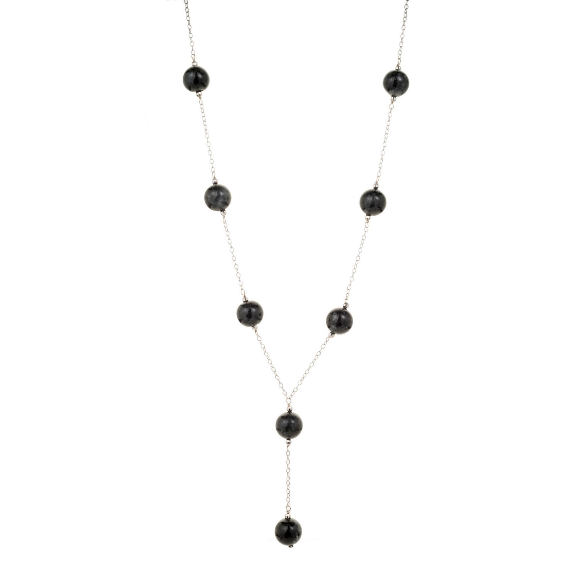 GIA Certified Natural Black Jadeite Jade Bead Gold Necklace