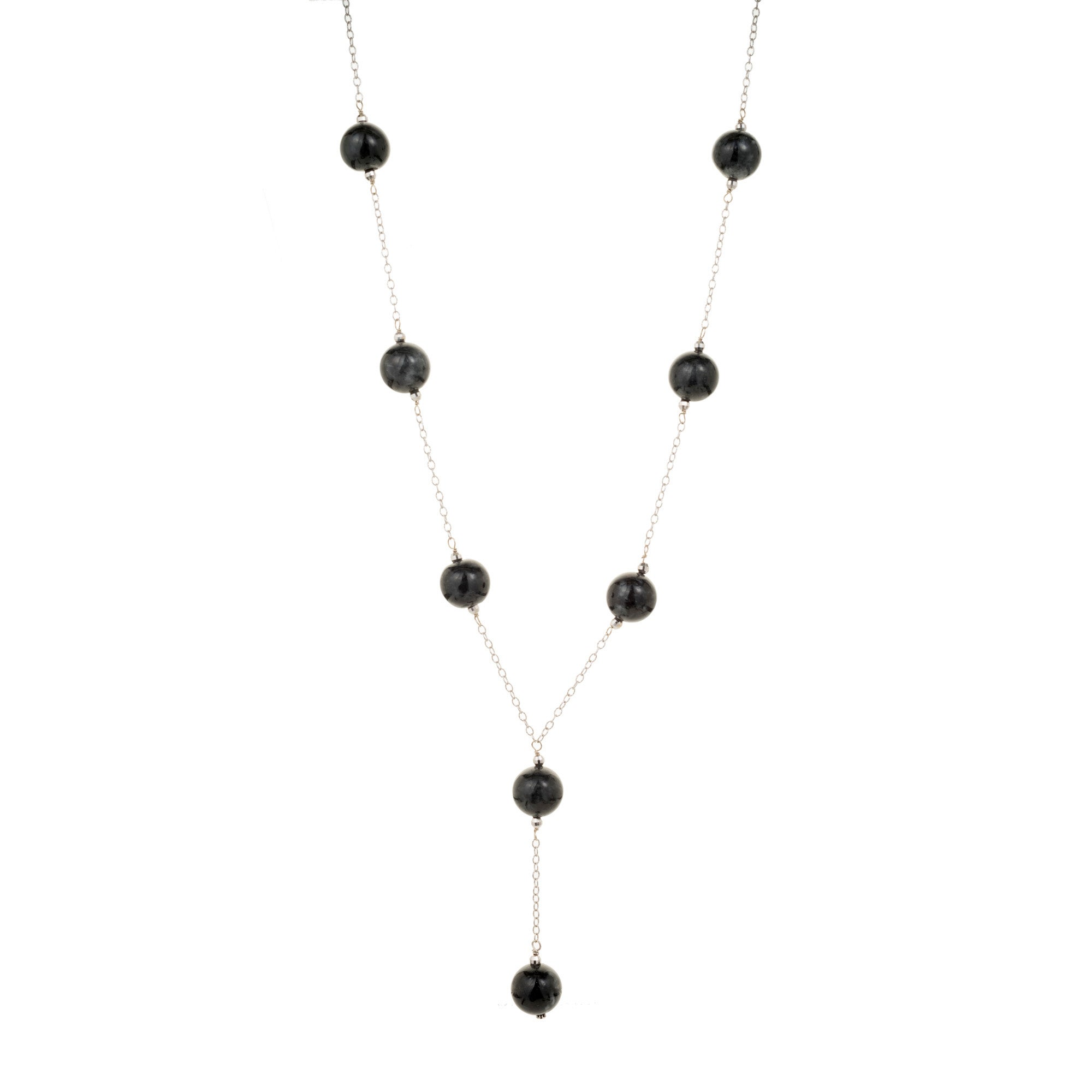GIA Certified Natural Black Jadeite Jade Bead Gold Necklace