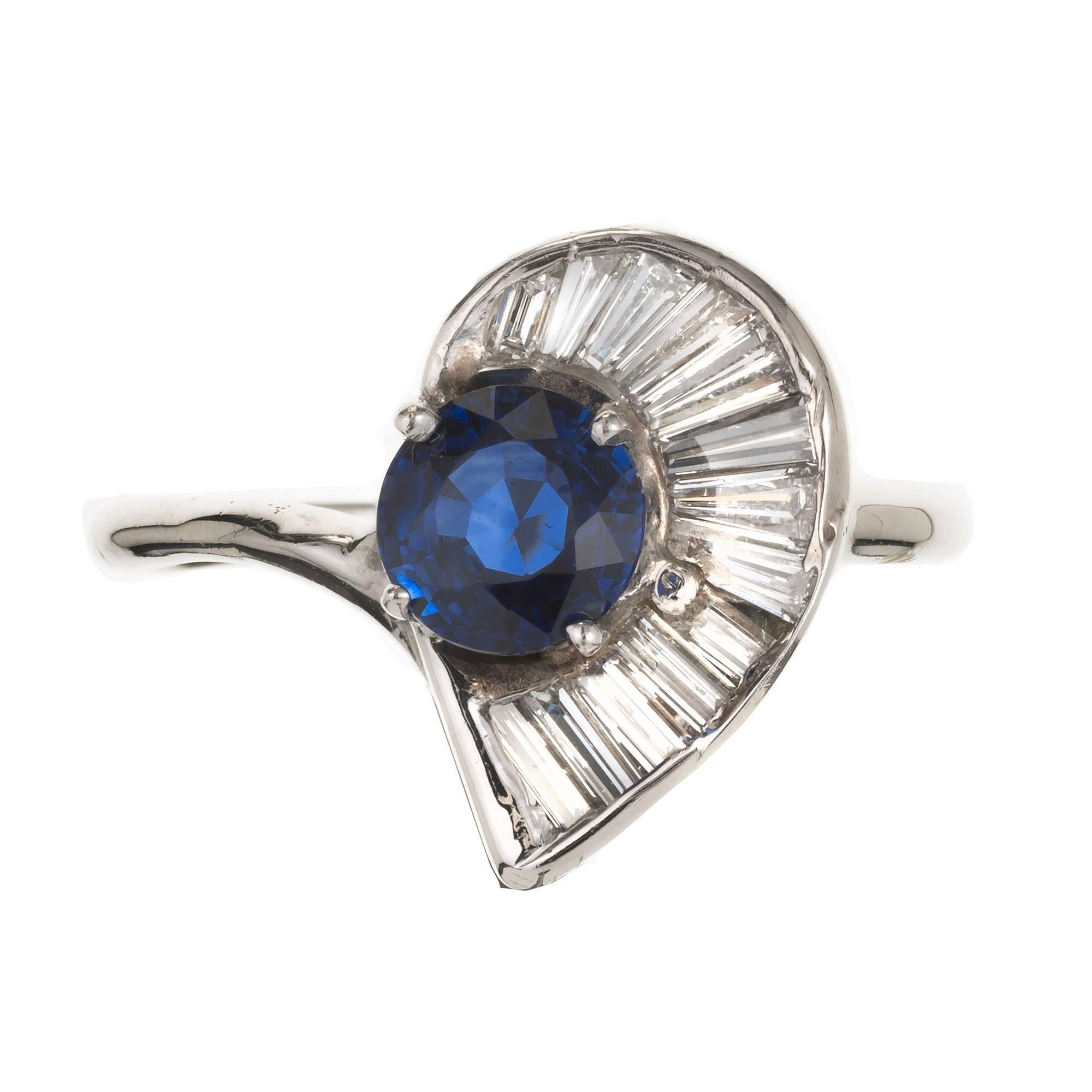 GIA Certified .98 Carat Sapphire Swirl Baguette Diamond Gold Cocktail Ring