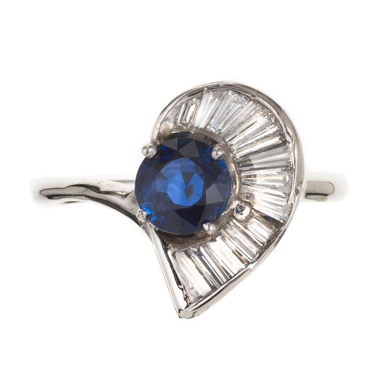 GIA Certified Midcentury Sapphire Swirl Baguette Diamond Gold Cocktail Ring