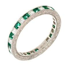 1.60 Carat Emerald Diamond Beaded Channel Set Platinum Wedding Band