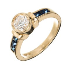Peter Suchy EGL Certified Bezel Set .71 Carat Diamond Gold Engagement Ring