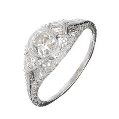 Egl Certified 1890s Antique 1.00 Carat Diamond Platinum Engagement Ring