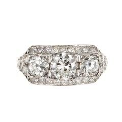 EGL Certified Art Deco Diamond Three-Stone Platinum Engagement Ring