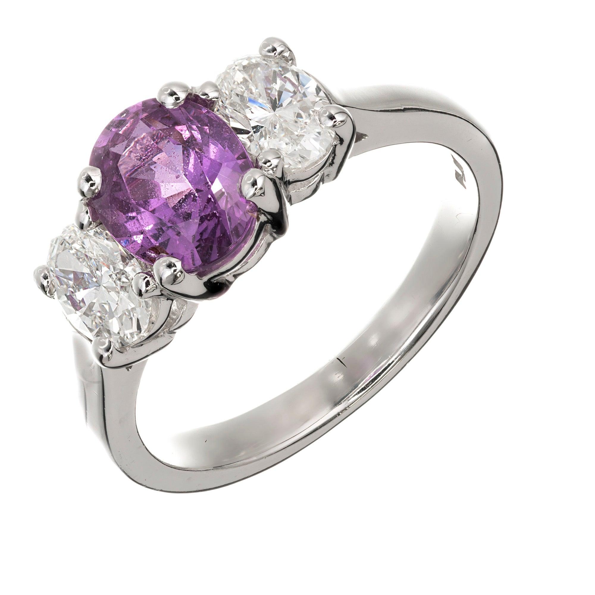 Peter Suchy GIA Certified Purple Pink Sapphire Diamond Platinum Engagement Ring