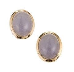 GIA Certified Natural Oval Purple Jadeite Jade Gold Earrings
