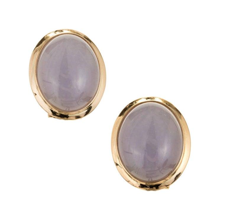 GIA Certified Natural Oval Purple Jadeite Jade Gold Earrings