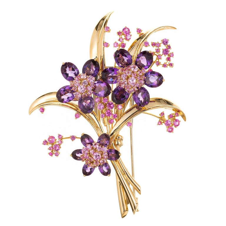 Van Cleef & Arpels Hawaii Bouquet Pink Sapphire Amethyst Gold Brooch