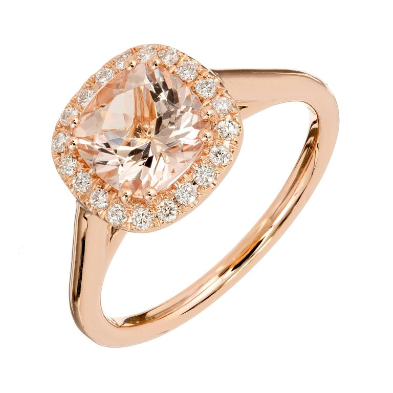 Peter Suchy 1.28 Carat Morganite Diamond Halo Rose Gold Engagement Ring