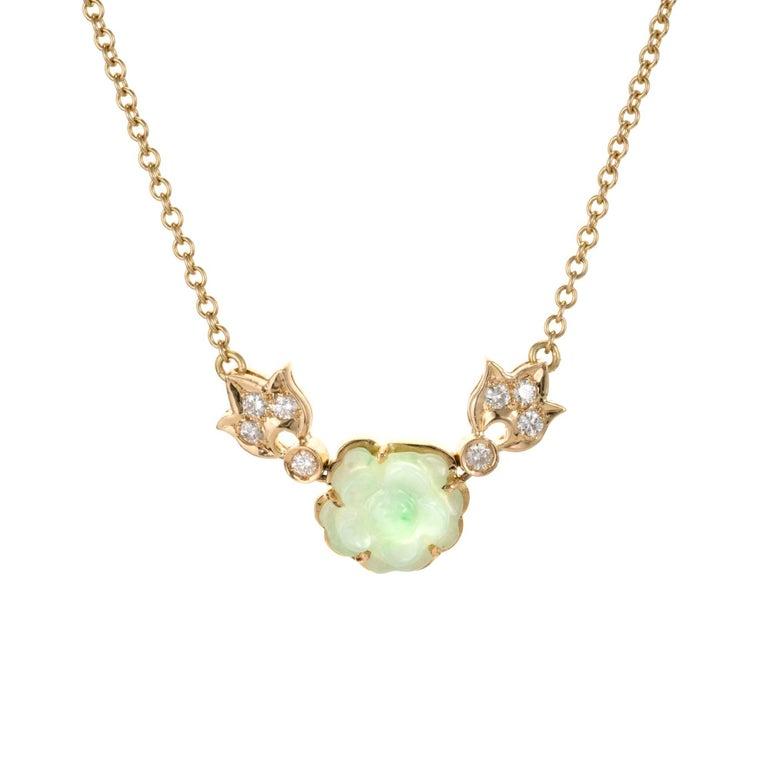 GIA Certified Natural Carved Jadeite Jade Diamond Flower Pendant Necklace