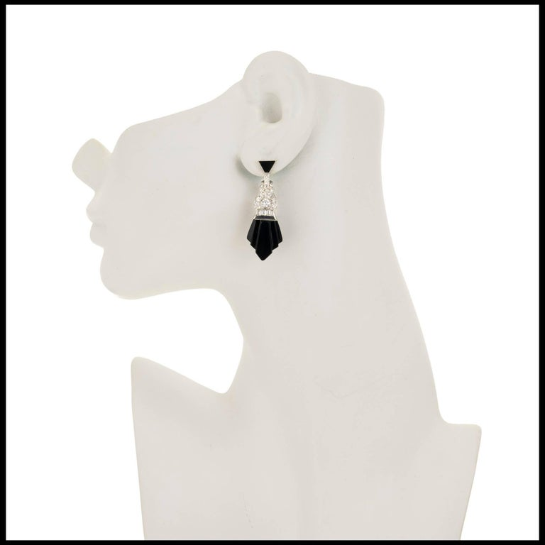 Round Cut Onyx Diamond White Gold Dangle Earrings For Sale