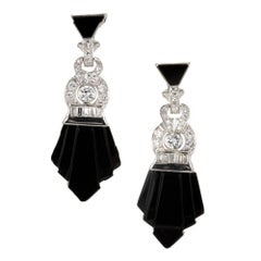 Onyx Diamond White Gold Dangle Earrings