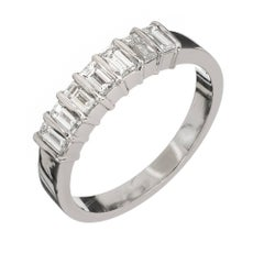 Tiffany & Co. Emerald Cut Diamond Platinum Wedding Band Ring