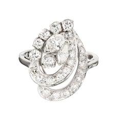 Mid-Century Modern Diamond Swirl Platinum Cocktail Ring