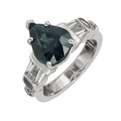 Peter Suchy 4.01 Carat Pear Sapphire Diamond Platinum Engagement Ring