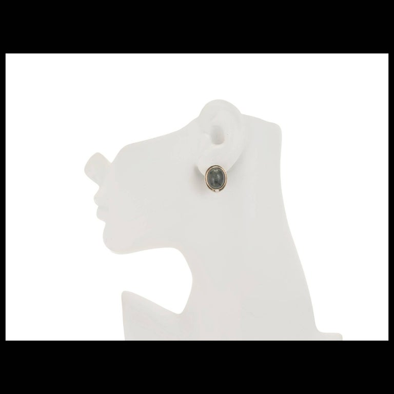 Women's Oval Green Tourmaline Cats Eye Diamond Gold Clip Post Earrings For Sale