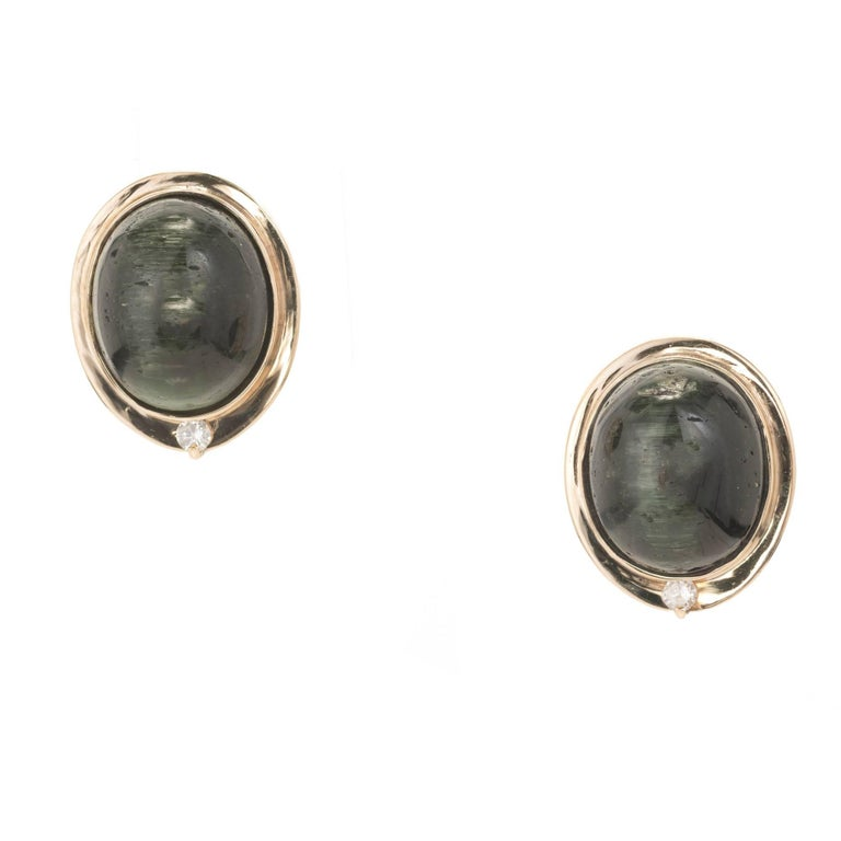 Oval Green Tourmaline Cats Eye Diamond Gold Clip Post Earrings For Sale