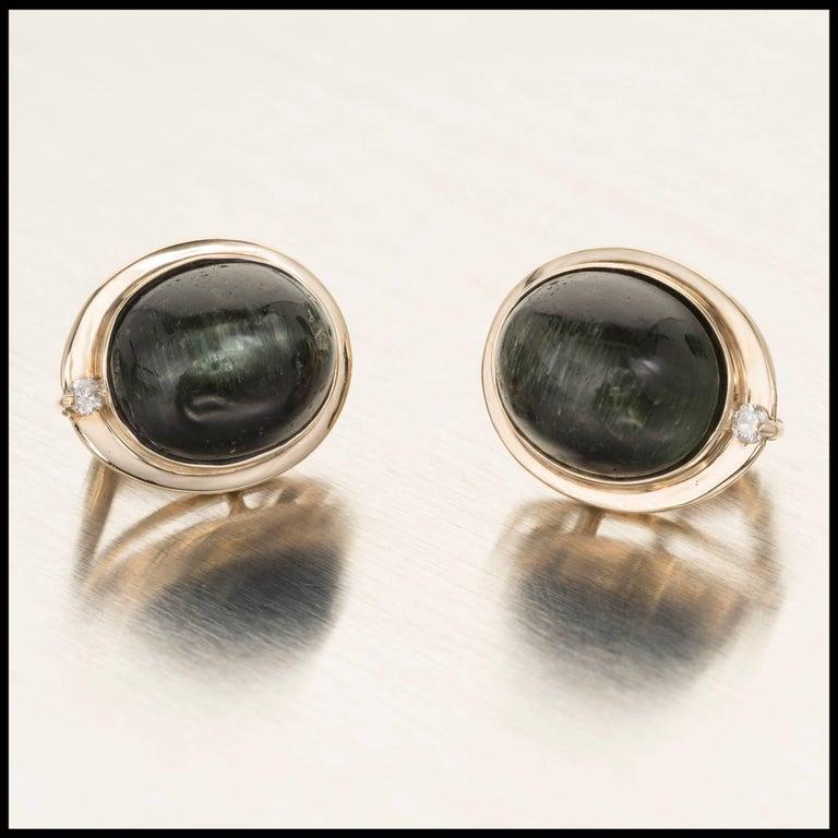 Oval Green Tourmaline Cats Eye Diamond Gold Clip Post Earrings For Sale 2