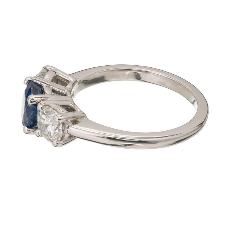 Women's Peter Suchy GIA Certified 1.25 Carat Sapphire Diamond Platinum Engagement Ring For Sale