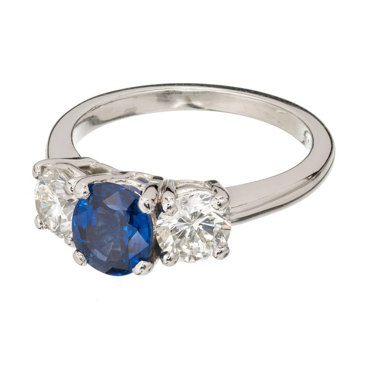 Peter Suchy GIA Certified 1.25 Carat Sapphire Diamond Platinum Engagement Ring In Good Condition For Sale In Stamford, CT