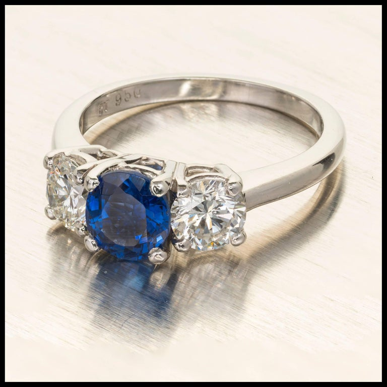 Peter Suchy GIA Certified 1.25 Carat Sapphire Diamond Platinum Engagement Ring For Sale 5