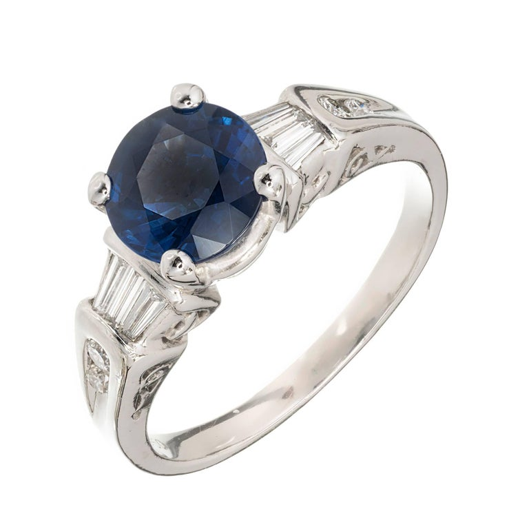 GIA Certified 1.75 Carat Round Sapphire Diamond Platinum Engagement Ring