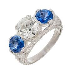 Peter Suchy 3.79 Carat Diamond Sapphire Three-Stone Platinum Engagement Ring
