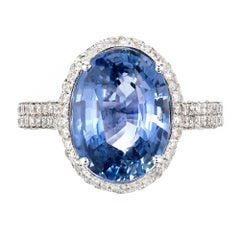 Peter Suchy 6.46 Carat Blue Sapphire Diamond Halo Gold Engagement Ring